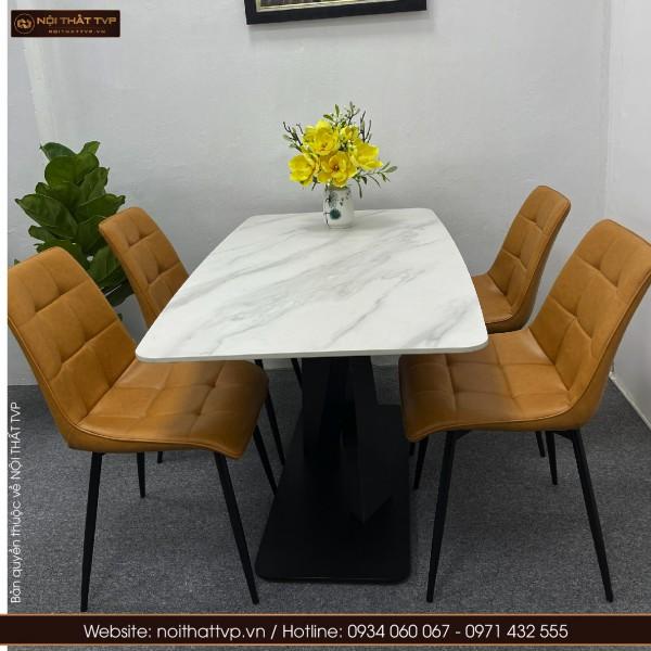 Bộ bàn ăn 4 ghế mặt đá ghế cami màu cam