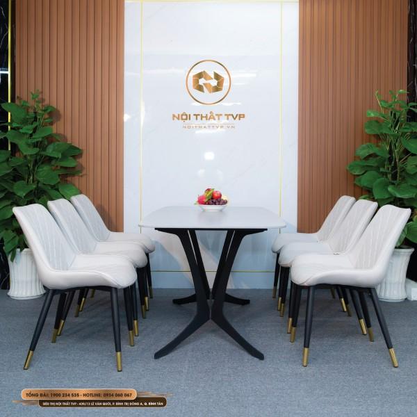 Bộ bàn ăn mặt gốm Ceramic xám, chân cánh bướm, 6 ghế Loft trám bọc da Microfiber xám nhạt