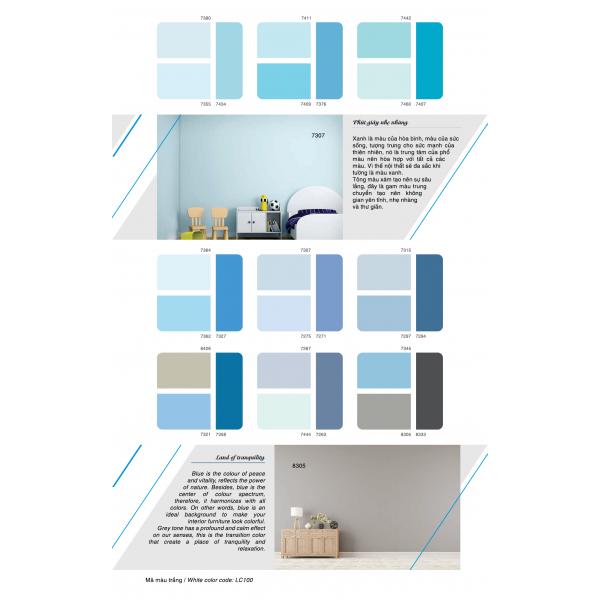 Bảng màu sơn nội thất thoải mái lau chùi Toa
