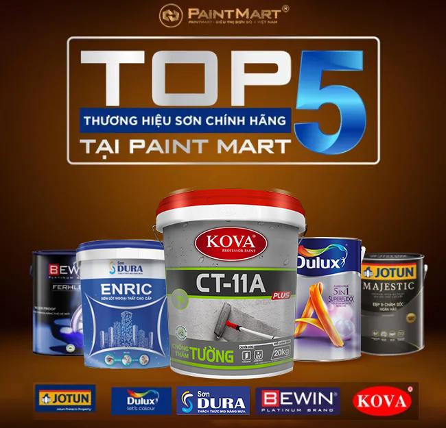 TOP 5 THƯƠNG HIỆU SƠN CHÍNH HÃNG HÀNG ĐẦU TẠI PAINTMART