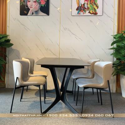 Bộ bàn ăn 4 ghế mặt bàn gốm ceramic màu đen ghế form ôm hàn quốc cao cấp