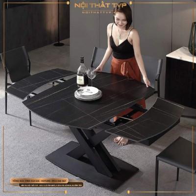 Bàn ăn thông minh kéo dài 1.2m - 1.8m, mặt đá đen vân tia chớp - đen