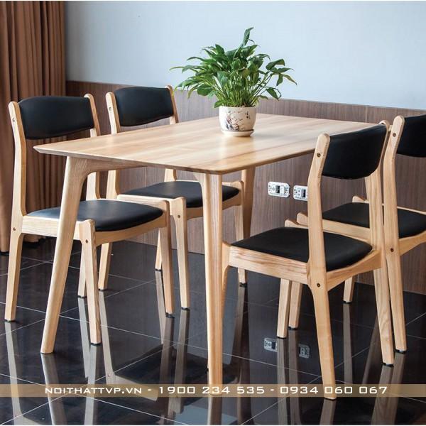 Bộ bàn ăn 4 ghế gỗ tự nhiên, ghế bella thời trang cao cấp TVP