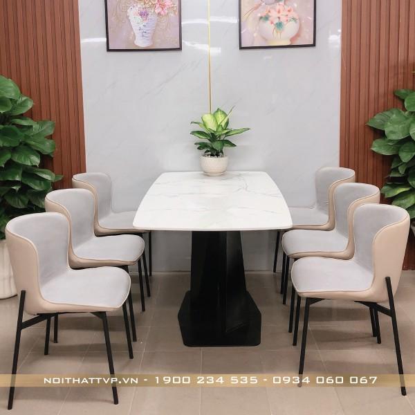 Bộ bàn ăn 6 ghế mặt đá Marble chân sắt chữ X sơn tĩnh điện, ghế form ôm nhập khẩu cao cấp TVP