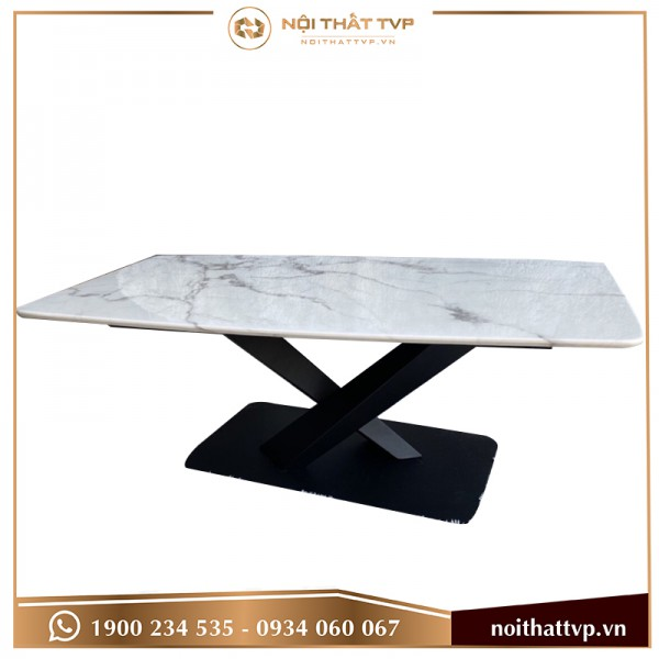 Bàn sofa mặt đá Marble trắng vân mây, chân sắt chéo chữ X phun sơn tĩnh điện TVP