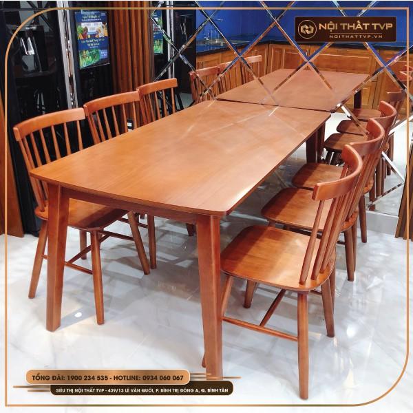 Bộ bàn ăn 6 người mặt gỗ, ghế Rio gỗ tự nhiên TVP - màu gỗ cánh gián