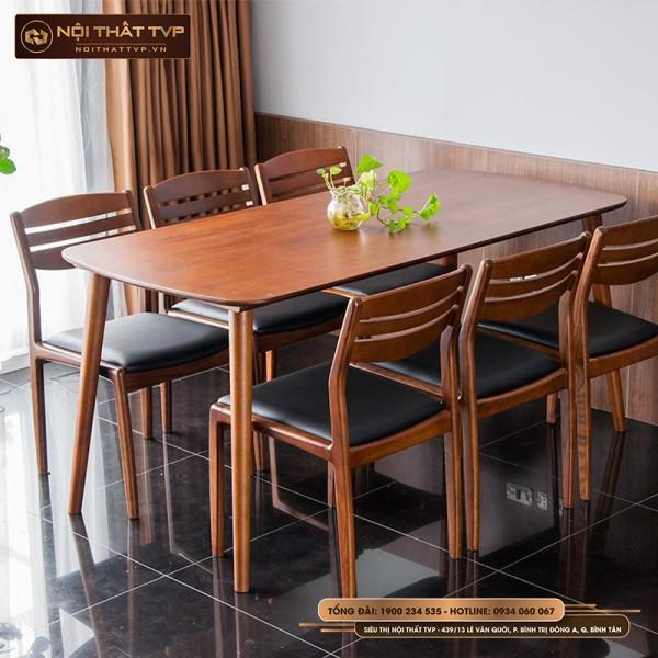 Bộ bàn ăn 6 người mặt bàn gỗ, ghế lưng tựa gỗ cao su, đệm bọc da cao cấp TVP
