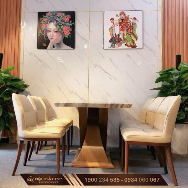 Bộ bàn ăn 6 ghế mặt đá cẩm thạch, ghế đệm mút Việt Nhật nhập khẩu TVP