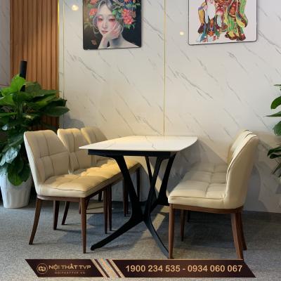 Bộ bàn 6 ghế mặt gốm ceramic màu trắng ghế đệm chân giả gỗ cao cấp