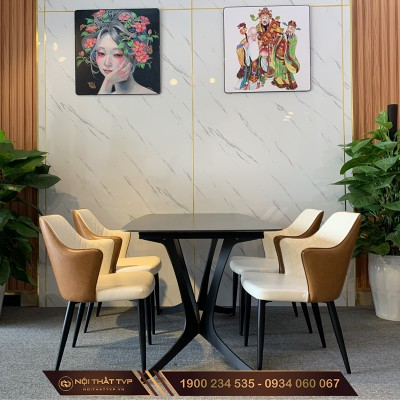 Bộ bàn ăn 4 ghế mặt bàn gốm ceramic màu đen, ghế tân cổ điển cao cấp