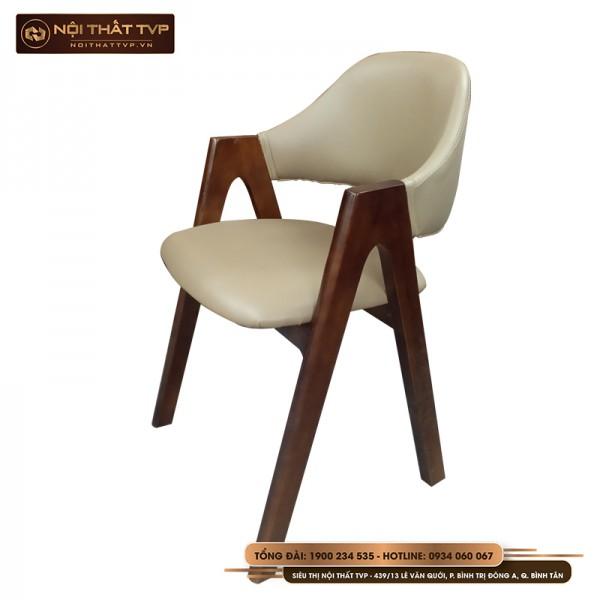 Ghế ăn chữ A gỗ cao su, bọc đệm da cao cấp TVP - màu tự nhiên