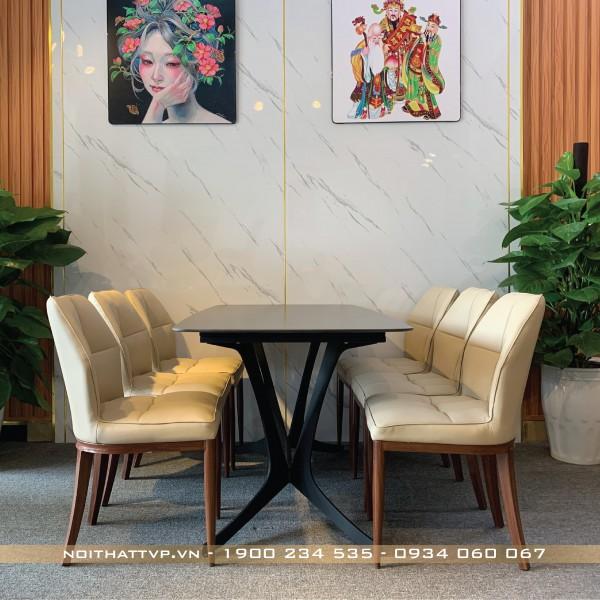 bộ bàn mặt cốm ceramic màu đen ghế đệm chân giả gỗ cao cấp