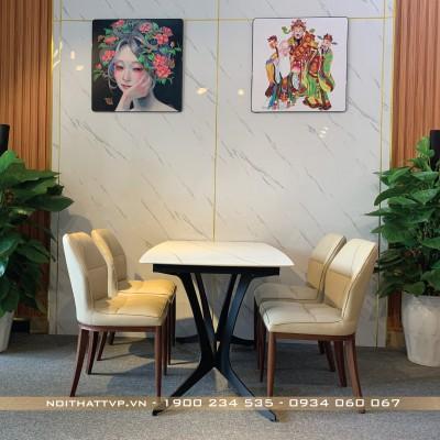 Bộ bàn ăn 4 ghế mặt bàn gốm ceramic màu trắng ghế đệm mút Việt Nhật cao cấp