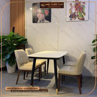 Bộ bàn ăn 4 ghế mặt đá Marble trắng, chân sắt sơn tĩnh điện, ghế đệm mút Việt Nhật, bọc da Microfiber, chân kim loại sơn giả gỗ