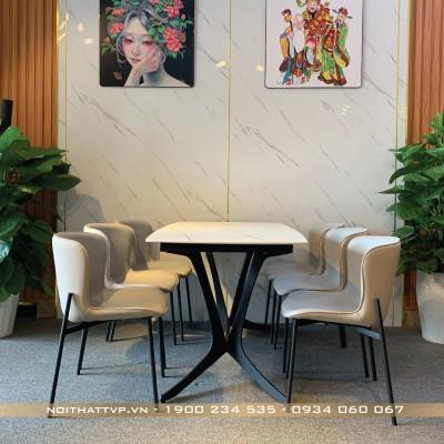 bộ bàn ăn 6 ghế mặt gốm ceramic màu trắng ghế form ôm hàn quốc