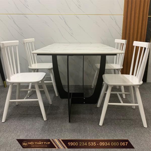 Bộ bàn ăn mặt đá chân sắt sơn tĩnh điện, ghế gỗ Rio cao cấp