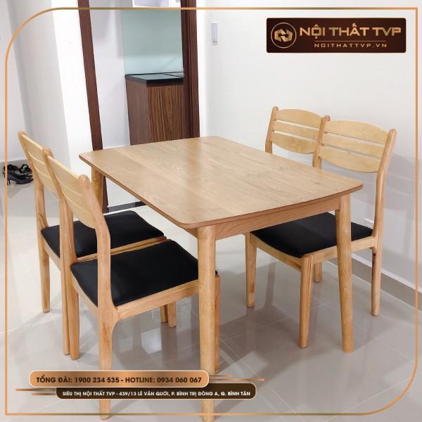 Bộ bàn ăn gỗ 4 ghế Mega 3 nan, bọc vải cao cấp TVP