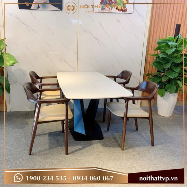 Bộ bàn ăn mặt đá Marble chân sắt sơn tĩnh điện, ghế Hiroshima 4 ghế