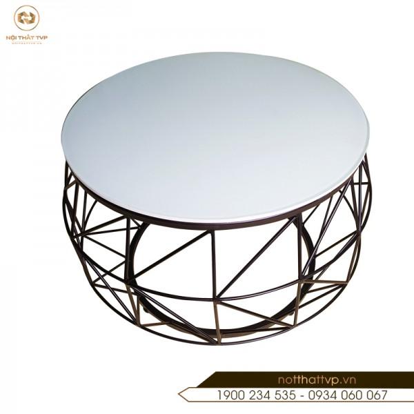 Bàn trà cái trống mặt kính cường lực / đá nhân tạo, chân sơn tĩnh điện