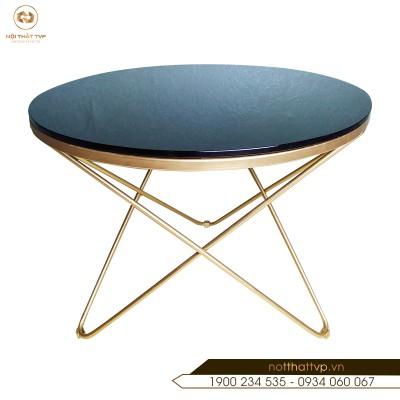 Bàn Sofa tròn - 3 chân V - khung chân vàng phun sơn tĩnh điện TVP