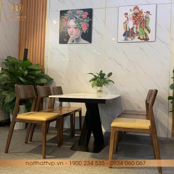 Bộ bàn ăn đá Marble, chân kim loại sơn tĩnh điện, Ghế gỗ sồi Mỹ - mặt gỗ