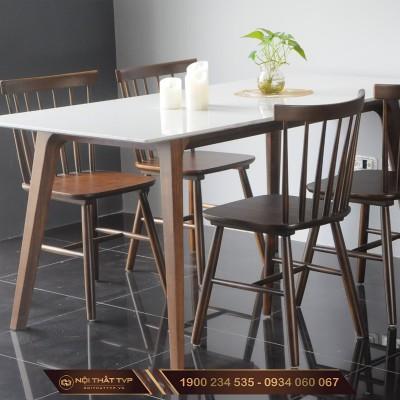 Bộ bàn ăn 4 ghế mặt đá nhân tạo, ghế ăn 7 nan gỗ cao su nhập khẩu