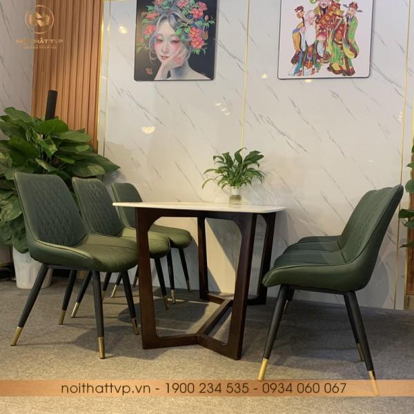 Bộ bàn ăn Concorde đá Marble, chân gỗ sồi Nga, ghế Loft trám chân inox mạ titan- Green