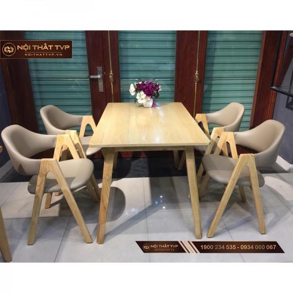 Bộ bàn ăn 4 ghế mặt gỗ cao su, ghế hình chữ A TVP - màu cánh gián đậm