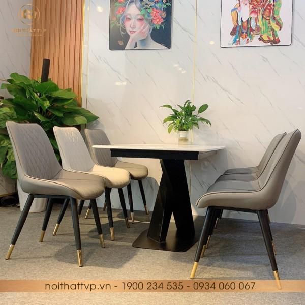 Bộ bàn ăn đá Marble vân mây chân kim loại sơn tĩnh điện 6 ghế TVP-S01 - Dark Grey