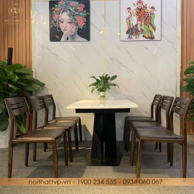 Bộ bàn ăn đá marble vân mây chân kim loại sơn tĩnh điện 6 ghế TVP-S01 - Orange