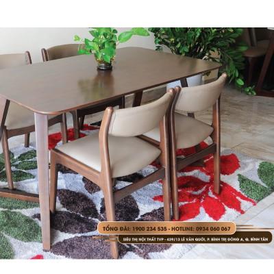 Bộ bàn ăn 4 ghế chân chữ V gỗ cao su, ghế bella bọc da Hàn Quốc 4 ghế nhập khẩu