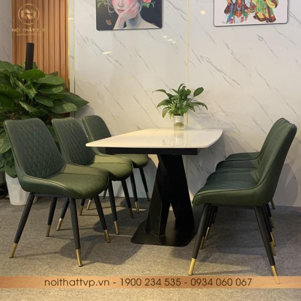 Bộ bàn ăn đá marble vân mây chân kim loại sơn tĩnh điện 6 ghế TVP-S01 - Hunter Green