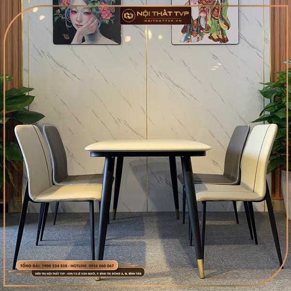 Bộ bàn ăn 4 ghế mặt đá chân sắt sơn tĩnh điện, ghế may chỉ nổi, viền thời trang