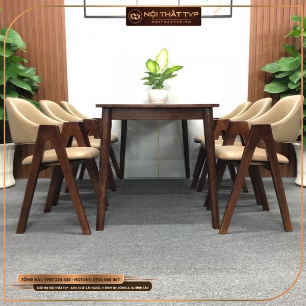 Bộ bàn ăn 6 người mặt gỗ, ghế chữ A gỗ cao su, đệm bọc da cao cấp TVP - màu cánh gián