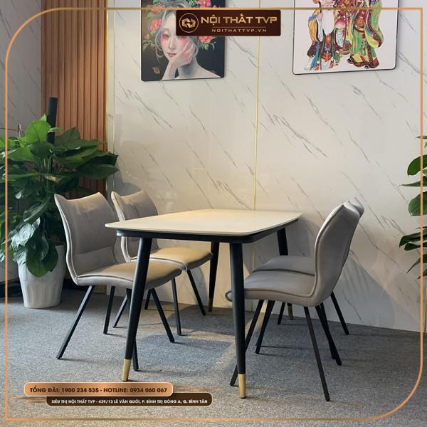Bộ bàn ăn 4 ghế mặt đá Marble trắng, chân sắt sơn tĩnh điện, ghế ăn phong cách Hàn Quốc, bọc nỉ giả da