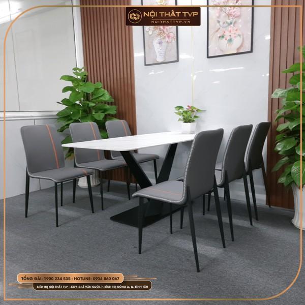 Bộ bàn ăn 6 ghế mặt đá Marble trắng, chân sắt chéo chữ X, ghế nệm may chỉ nổi - xám viền cam