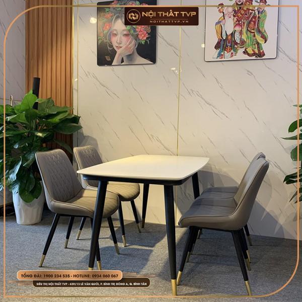 Bộ bàn ăn 4 ghế mặt đá Marble trắng, chân sắt sơn tĩnh điện, ghế Loft trám, bọc da Microfiber chống cháy, chân inox mạ titan - xám