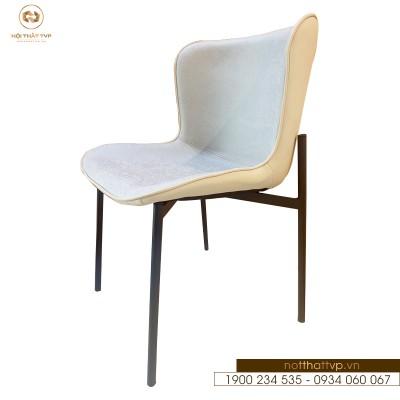 Ghế ăn form ôm chân sắt sơn tĩnh điện, bọc da cao cấp TVP01 - White