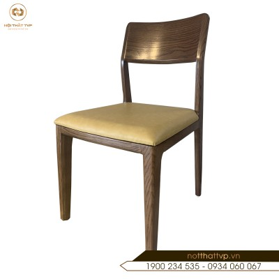 Ghế gỗ sồi Mỹ , mặt đệm da Indonesia cao cấp TVP-12