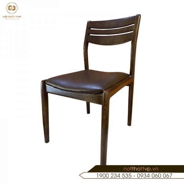 Ghế ăn gỗ sồi Nga, đệm bọc da Hàn Quốc cao cấp TVP-15