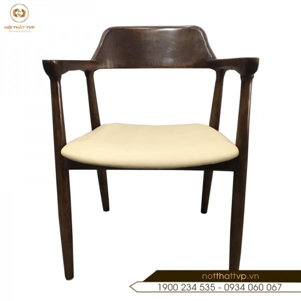 Ghế ăn Hiroshima gỗ sồi Nga,  đệm bọc da Hàn Quốc TVP-16
