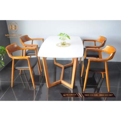 Bộ bàn ăn 4 ghế - Bàn Grace mặt đá nhân tạo, ghế Hiroshima nhập khẩu cao cấp