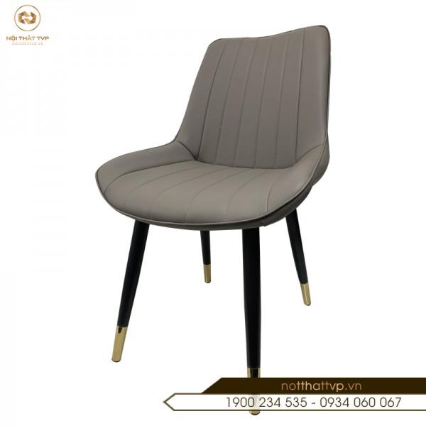 Ghế ăn Loft vân sọc chân sắt sơn tĩnh điện bọc đồng nhập khẩu cao cấp TVP-05 - Grey