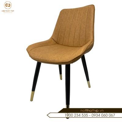Ghế ăn Loft vân sọc chân sắt sơn tĩnh điện bọc đồng nhập khẩu cao cấp TVP-05 - Orange