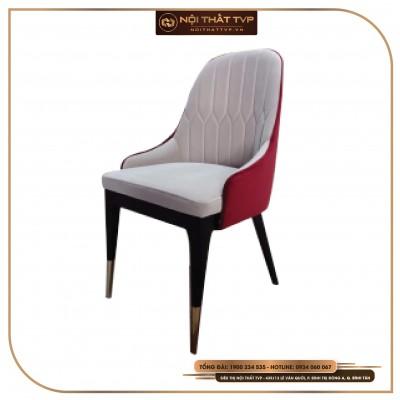 Ghế tân cổ điển Otomo Luxury chân gỗ Ash chụp inox, đệm bọc vải cao cấp TVP