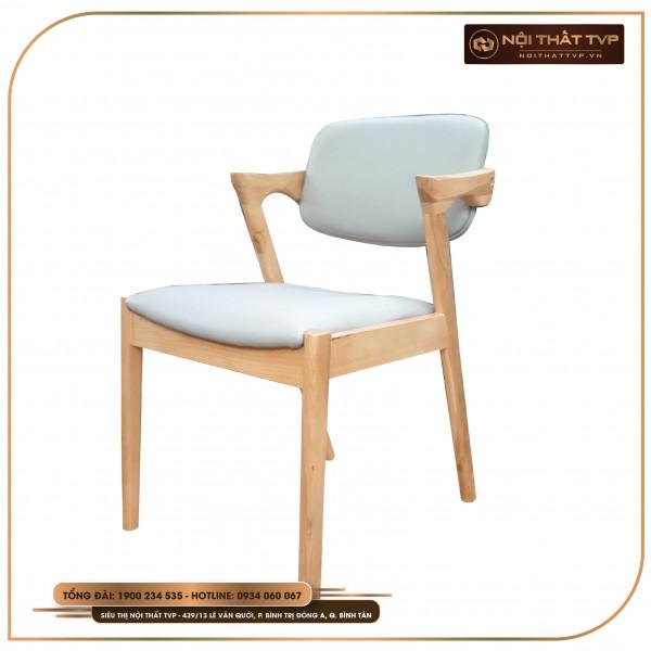Ghế ăn tay vịn kiểu - khung gỗ tự nhiên, bọc da cao cấp TVP