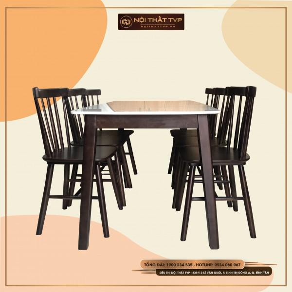 Bộ bàn ăn mặt đá Marble, ghế Rio gỗ cao su tự nhiên