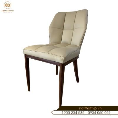 Ghế ăn chân kim loại sơn giả gỗ, đệm mút Việt Nhật, bọc da Microfiber chống cháy TVP-10
