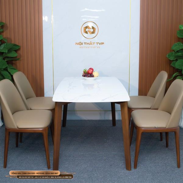 Bộ bàn ăn 4 ghế mặt đá Marble trắng vân mây, ghế Grace gỗ cao su tự nhiên, đệm bọc da Hàn Quốc