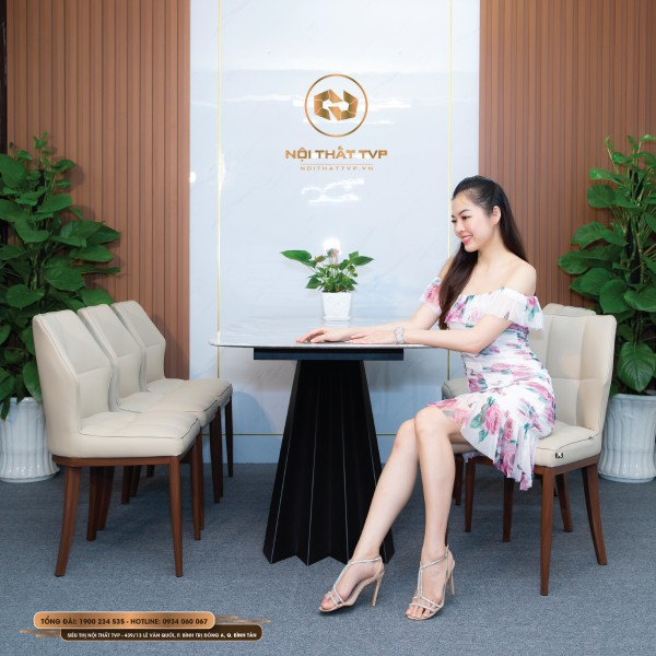 Bộ bàn ăn 6 ghế mặt đá Marble vân mây, chân cánh buồm, ghế đệm mút Việt Nhật nhập khẩu